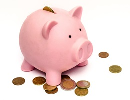 photo of pink piggy bank and coins