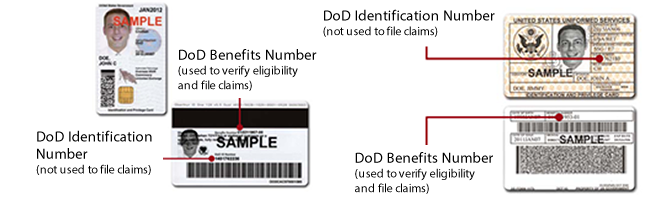 Image of the TRICARE ID card showing the DoD Benefits number