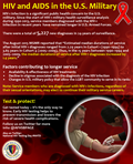 "June 27th is National HIV Testing Day. HIV-1 infection is a major health importance for the U.S. military. Since the start of HIV-1 military health surveillance analysis during 1990-2013, service members diagnosed with the HIV-1 infection in recent years have remained longer in U.S. Armed Forces.  There were a total of 5,227 new diagnoses in 24-years of surveillance. The August 2015 Medical Surveillance Monthly Report (MSMR) reported that ""Estimated median durations of service after initial HIV-1 diagnoses ranged from 2.29 years in Cohort 1 ( 1990-1994) to 3.65 years in Cohort 4 (2005-2009). Thus, in the 15 years between 1990-1994 and 2005-2009, the median durations of service after HIV-1 diagnoses increased by 1.4 years."" Factors contributing to longer service include: •	Availability and effectiveness of HIV treatments •	Decline in stigmas associated with diagnosis of the HIV infection •	Changes in U.S. military policy that allow the LGBT community to serve in its ranks  Note: Service members who are diagnosed with HIV-1 infections, regardless of their sexual orientations, may elect to continue their military service careers.  Get tested today – it's the only way to know. Early HIV testing helps to prevent transmission and lowers the risk of severe health complications. Follow us on Twitter for more information: @AFHSBPAGE  Also on Twitter: National HIV Testing Day #NHTD"