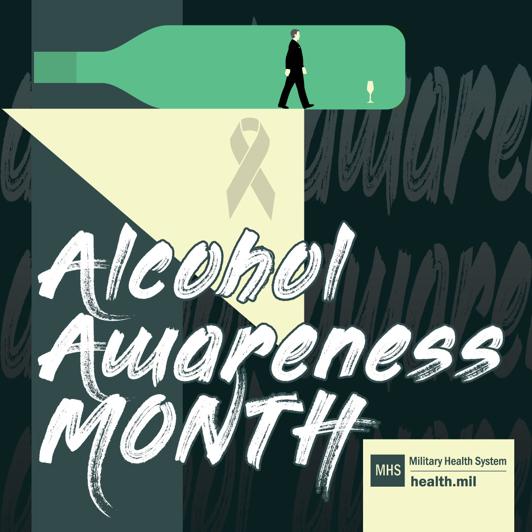 Alcohol Awareness Month social media graphic featuring a black background with a white fold in the left corner an animated man in a suit walking along the base of a teal bottle lying on its side