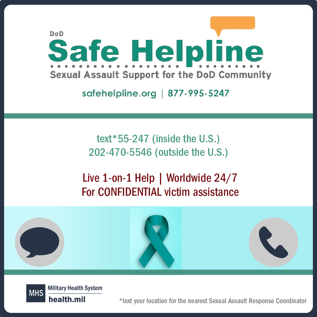 Sexual Assault Awareness and Prevention Month social media graphic featuring the DoD Safe Helpline and a dark teal ribbon.