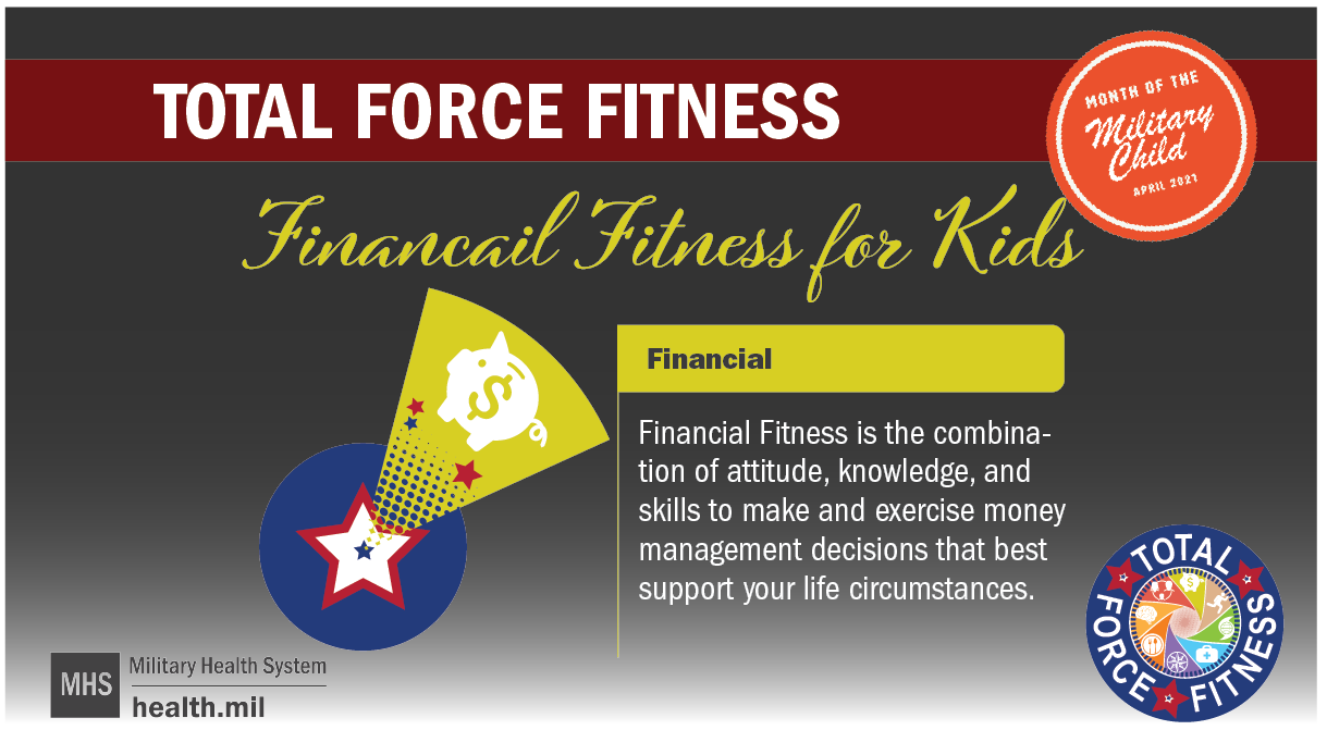Total Force Fitness for Kids social media graphic showing an orange military kids logo, a multi-colored Total Force Fitness logo, and a blue circle with a star and a dollar sign emanating from the center