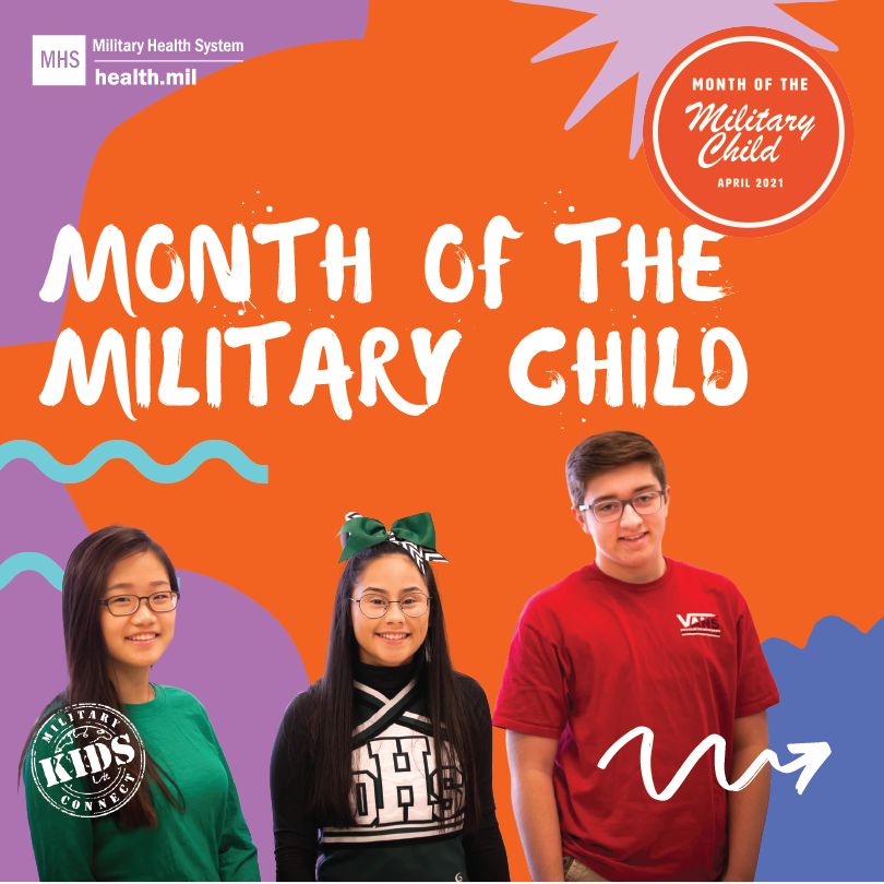 Month of the Military Child social media graphic showing three teenagers including a girl wearing glasses and a green shirt, a girl wearing a black shirt and a green bow in her hair, and a boy wearing glasses in a red shirt. An orange military child logo is in the top right corner