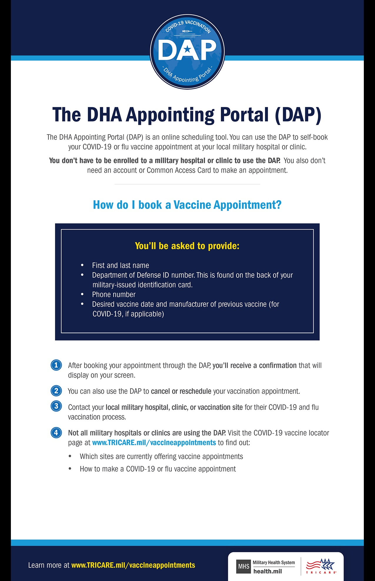 Infographic stating how to book a COVID vaccine appointment through DAP. Includes what you will be asked and instructions.