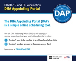 Screensaver introducing the new DHA Appointing Portal. Includes the DAP logo at the top right of the page, the DAP description, and TRICARE and MHS logos on the bottom right.