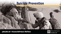 Social media graphic for suicide prevention showing a service member helping their battle buddy climb up
