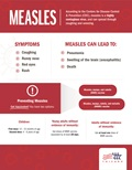 This infographic discusses the symptoms of measles and how to prevent it