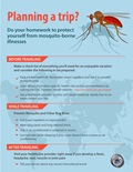 Infographic about planning ahead to protect against mosquito borne illness on a trip