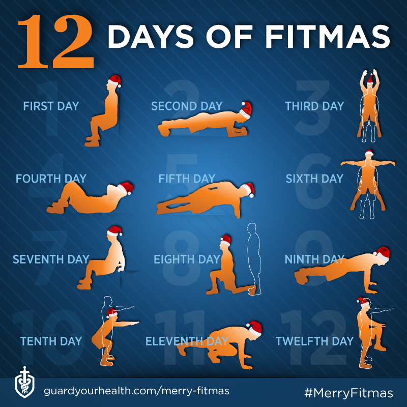 infographic showing 12 exercises you can do from now until Christmas