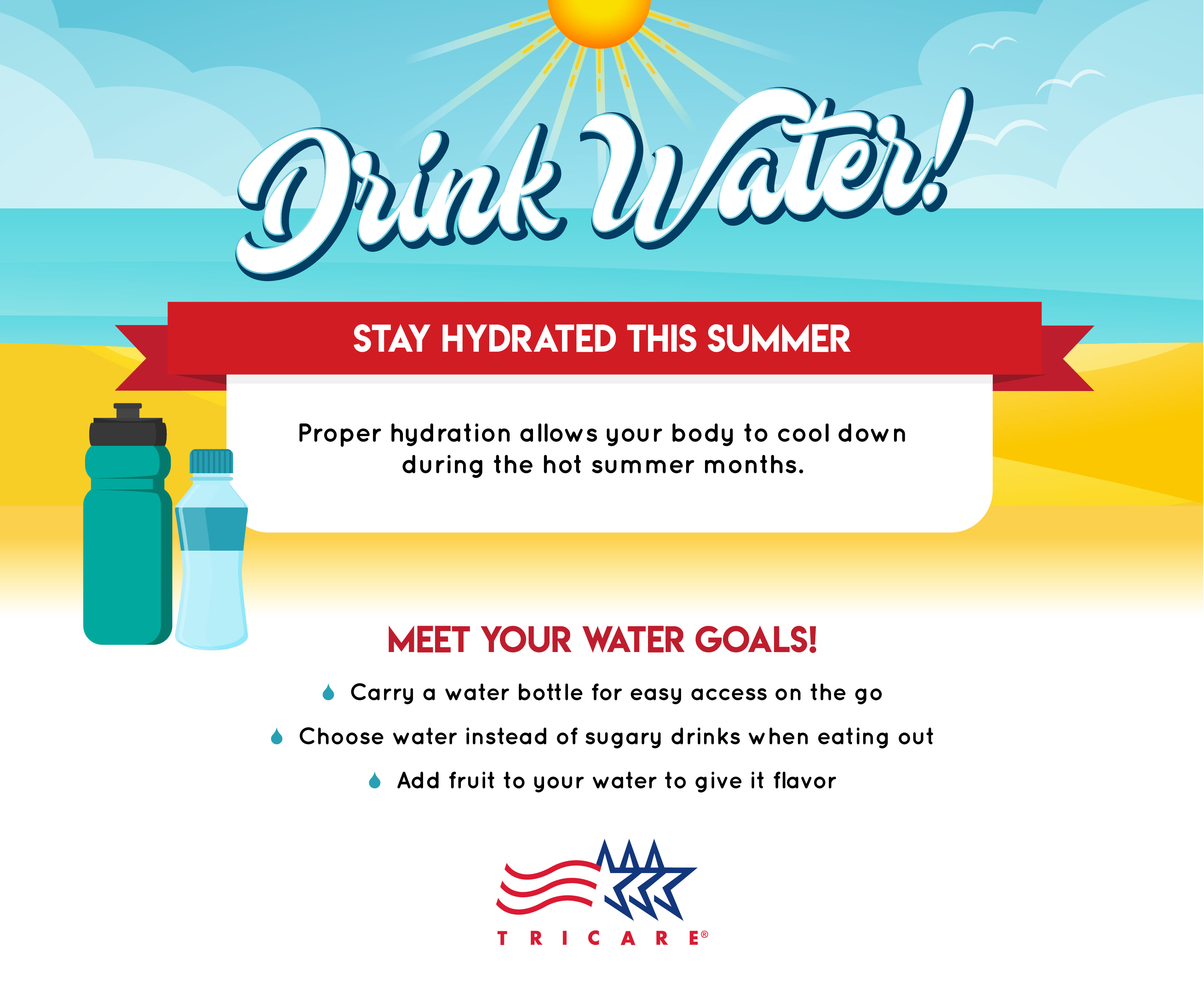 This infographic provides information on ways to stay hydrated while out in the sun.
