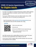 A navy and gray graphic stating that all eligible and authorized DOD individuals can make a COVID vaccine appointment. Contains a QR code for individuals to use to sign up for an appointment. TRICARE logo is located at the bottom right corner.
