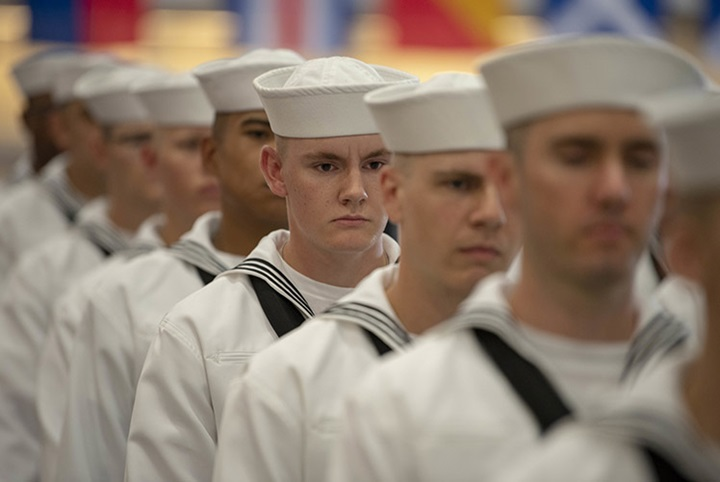 U.S. Navy sailors graduate from boot camp at Recruit Training Command (RTC) in 2018. (Photo courtesy of U.S. Navy)