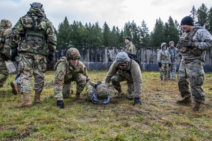 Soldiers from each of the United States Army's three components partnered together to conduct a training exercise at Joint Base Lewis-McChord, Washington, in January 2020. (U.S. Army Reserve photo by Capt. Gurney F. Pearsall III)