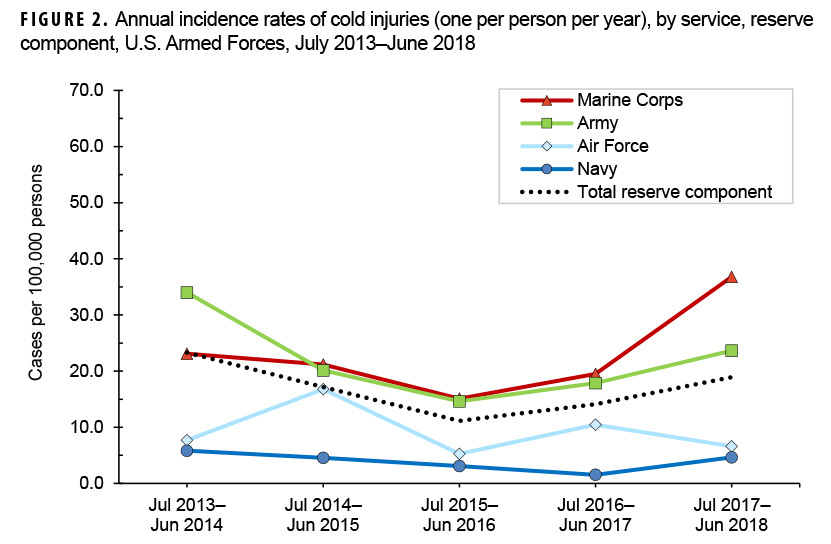 Annual incidence rates of cold injuries (one per person per year), by service, reserve component, U.S. Armed Forces, July 2013–June 2018