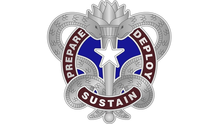 The U.S. Army Institute of Heraldry in October 2019 approved the new Army Medical Logistics Command's distinctive unit insignia. (Photo Courtesy of the  Army Institute of Heraldry)