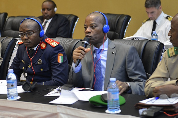 Brig. Gen. Dowlo Yao, Chief of Health Services, Cote D'Ivoire Armed Forces and Chairman of Africa Malaria Task Force, asks a question during the AMTF Key Leader Event. (DoD photo).