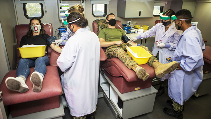 Opens larger image for Camp Pendleton Marines and civilians donate blood to save others