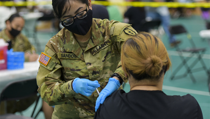 Opens larger image for U.S. Army Medical Team Administers COVID-19 Vaccines in Guam