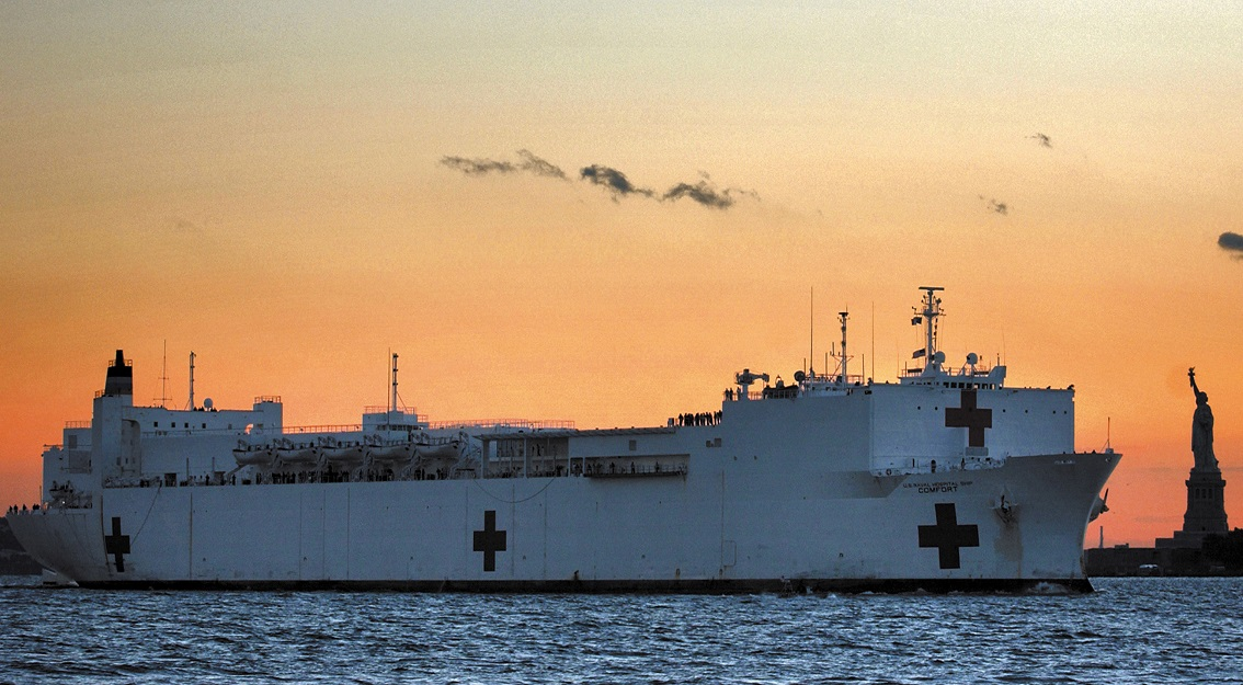 Military Sealift Command hospital ship USNS Comfort steams into New York City Sept. 14, 2001, in the wake of the 9/11 attacks. (U.S. Navy photo by Petty Officer 1st Class Preston Keres)