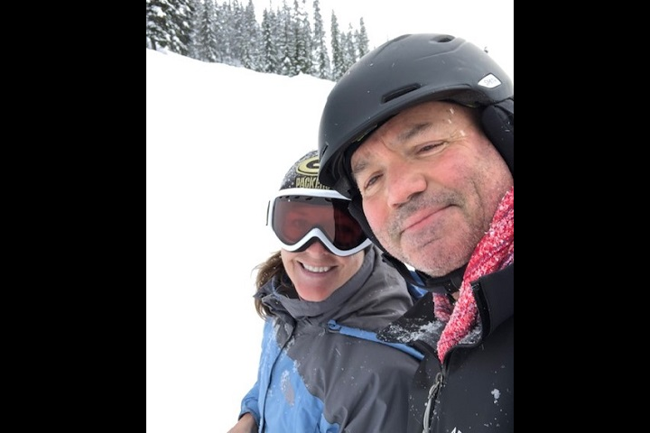 Joseph Schweitzer and a friend take to the slopes at Stevens Pass, Washington, in early March 2019.  The former Army combat engineer received more than a decade of care to address hearing loss and a condition called otosclerosis, a plaque-like buildup around the ear drum and hearing bones in the ear.  He is now able to hear normally out of one ear, and can go without hearing devices if he chooses. (Courtesy photo)