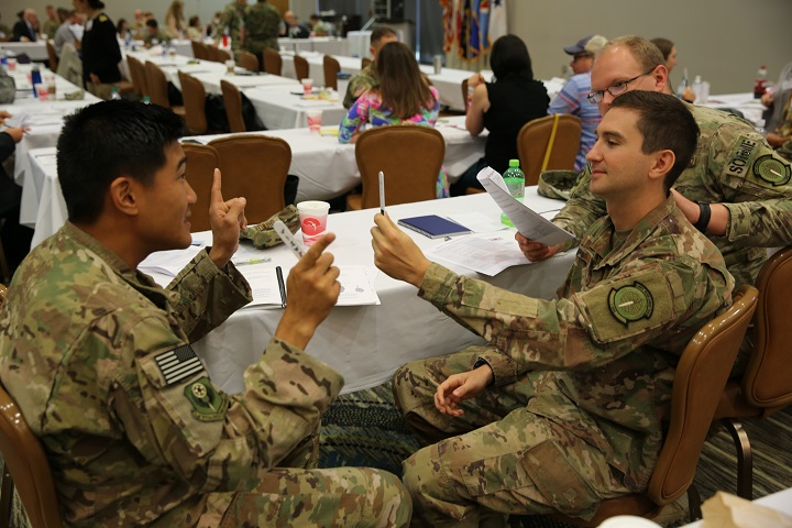 Military health care providers practice administering the MACE 2 during a two-day TBI workshop led by DVBIC at Fort Belvoir, Virginia. (Photo by Carlson Gray)