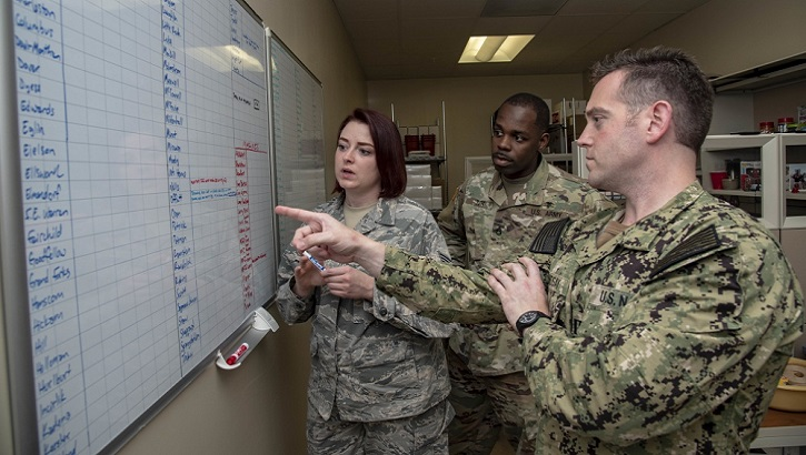 Air Force Staff Sgt. Vivian Johnson, AFMES Joint MWD Laboratory NCO in charge (left), discusses the upcoming Military Working Dog kennel inspection schedule with Army Staff Sgt. Joseph Tutt, AFMES Joint MWD laboratory manager (center), and Navy Lt. Ken Lindsay, AFMES Joint MWD Laboratory chief, June 7, 2019. Johnson and Tutt conduct random inspections each month to ensure training aids for the MWDs are being handled correctly and those handling them have the proper authorization. (U.S. Air Force photo by Staff Sgt. Nicole Leidholm)