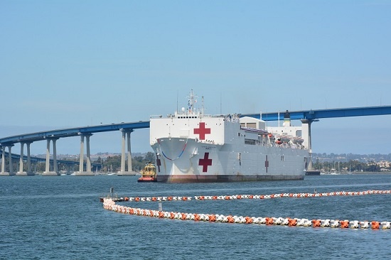 The hospital ship USNS Mercy arrives at Naval Base San Diego following its five month deployment in support of the Southeast Asian, humanitarian mission Pacific Partnership 2018. (U.S. Navy photo by Sarah Burford)