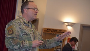 Air Force Maj. Gen. Lee E. Payne, Assistant Director for Combat Support Agency, Defense Health Agency explained to Naval Hospital Bremerton staff members during a Town Hall meeting there are four overlapping areas of focus for DHA which are great outcomes, ready medical force, satisfied patients, and fulfilled staff, all contributing to the goal of having a medically ready force and a ready medical force.