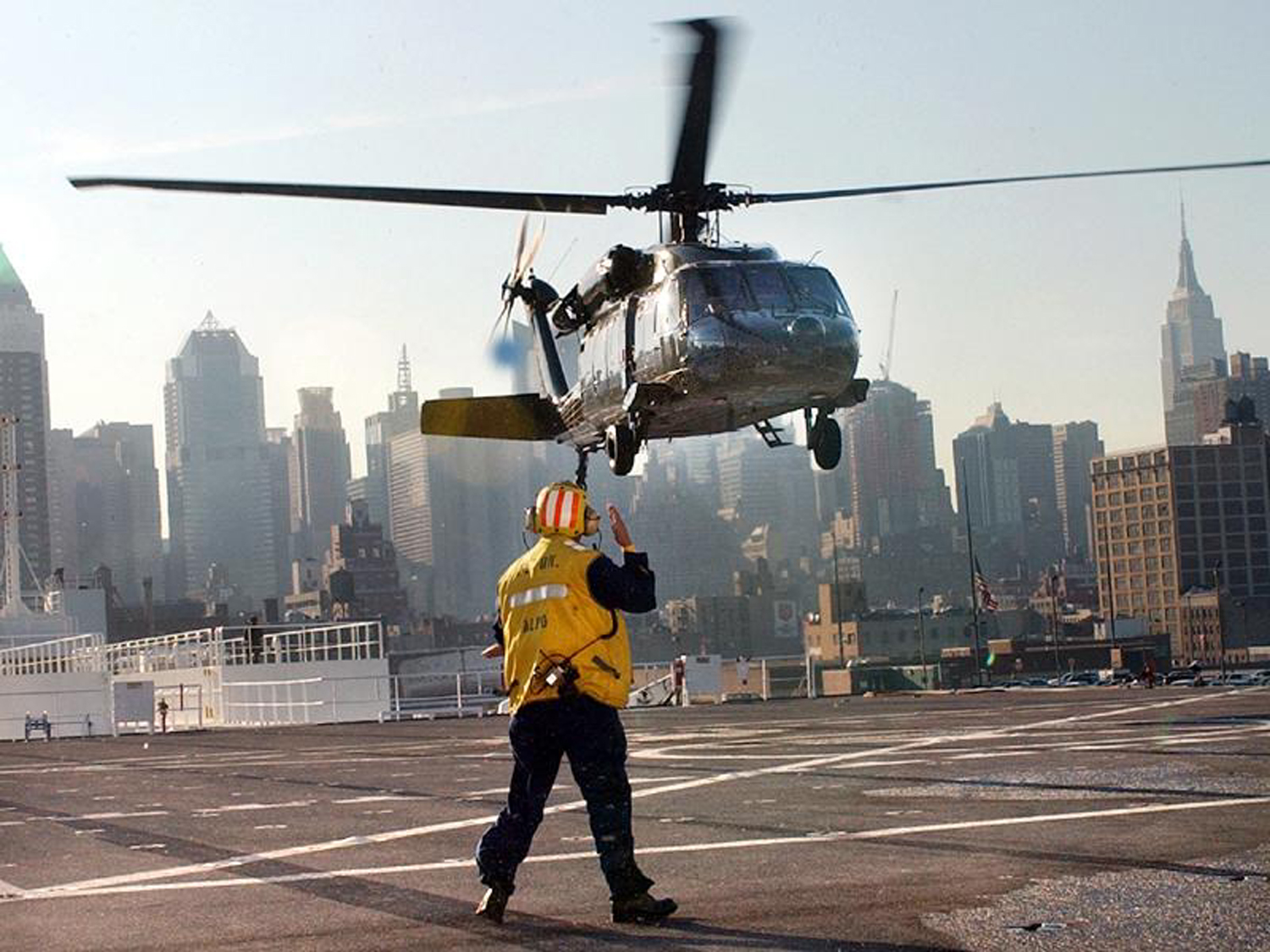 COMFORT flight deck personnel also assisted the city and other government agencies that required helicopter landings and layovers.  In fact, New York officials designated the ship as the secure location for emergency landings for VIP personnel.