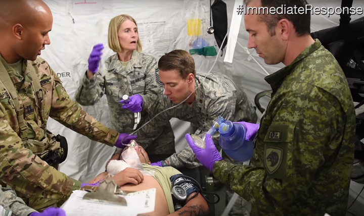 Soldiers and Airmen practice combat trauma care with allied and partner nation medical service members at Cerklje ob Krki, Slovenia, as part of exercise Immediate Response.