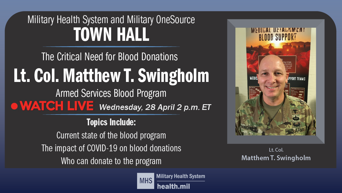 Town Hall image of Lt. Col. Matthew T. Swingholm, Armed Services Blood Program